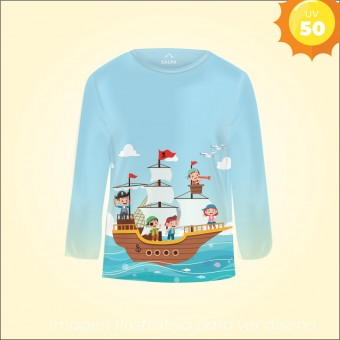 Remera Proteccion UV infantil PIRATA